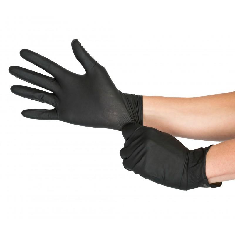 Mănuși Negre 100% din Nitril -100 Buc